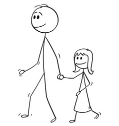 Cartoon of father walking with daughter and vector