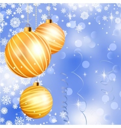 Christmas ball on abstract blue lights EPS 8 vector image