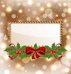 Christmas elegant card with mistletoe and bow vector