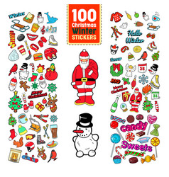 christmas stickers collection winter holidays badg vector image