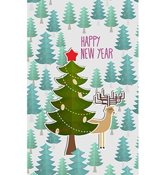 Christmas tree in forest and Deer Greeting card vector image