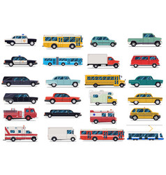 city transport set flat design vector image
