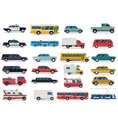 City transport set flat design vector