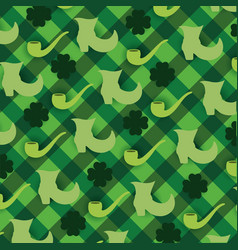 Clovers plants with boots and pipe background vector