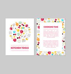 Cooking time kitchen tools banner templates set vector
