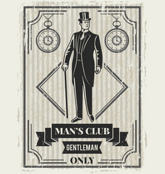 design template of retro poster for gentleman club vector image