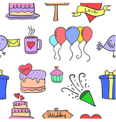 doodle of wedding object collection vector image