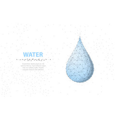 Drop abstract 3d wireframe water drop isolated on vector