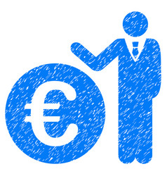 euro economist grunge icon vector image