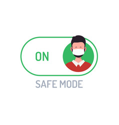 face mask safe mode switch toggle flat with vector image