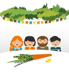 Family in the sukkah sukkot Jewish holiday vector