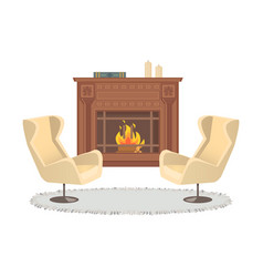 fireplace with vase decoration armchairs interior vector image
