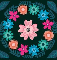 flower wreath branches decoration dark background vector image