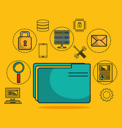 folder with data center icons vector image