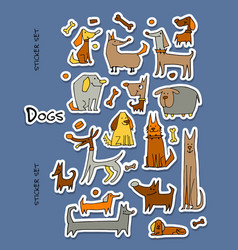 Funny dogs stickers collection for your design vector
