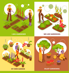 Gardening isometric concept icons set vector