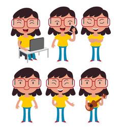 Geek girl wearing glasses set vector