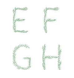 Green tree branch set letters alphabet abc vector