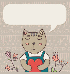 greeting card template with cat and place for text vector image