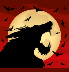halloween with a werewolf vector image