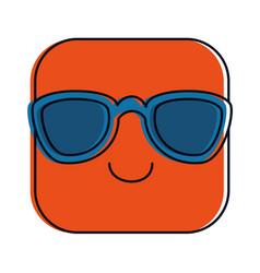 Happy emoji with sunglasses kawaii character vector