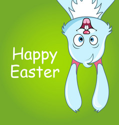 happy smiling rabbit for easter cute comic bunny vector image