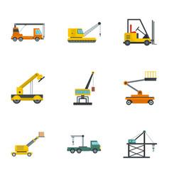 hoisting crane icons set cartoon style vector image