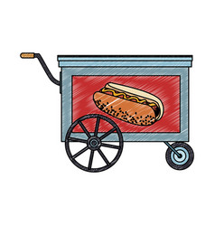 Hot dog cart stand scribble vector