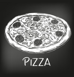 Italian pizza drawn in white chalk on a black vector