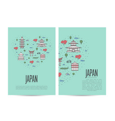 japan travel tour booklet set in linear style vector image