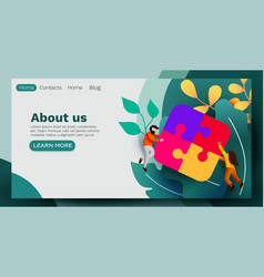 landing page business concept team metaphor vector image