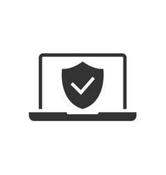 laptop computer protected black icon on white vector image