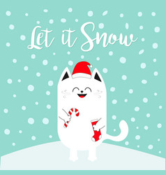 Let it snow white cat holding candy cane sock red vector