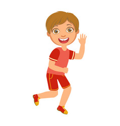 Little boy running in a red shirt and shorts and vector