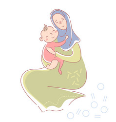 Loving young muslim mother in hijab vector