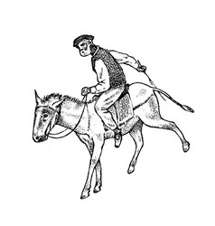 Man rider in national clothes greek on horse vector