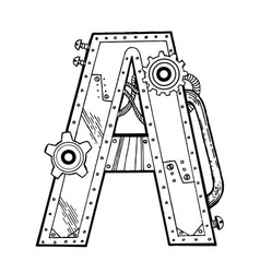Mechanical letter a engraving vector