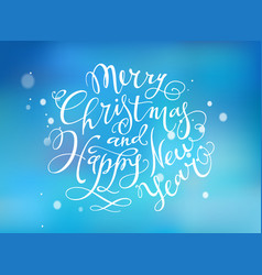 merry christmas and happy new year hand- drawn vector image