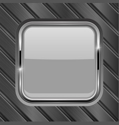 Metal diagonal planks with white glass button vector