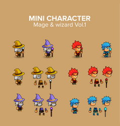 Mini character magical kit vector