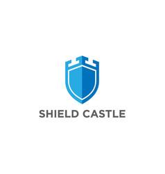 modern shield castle secure safe secret strong log vector image