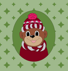 Monkey in a vinous cap and scarf print for vector