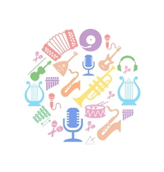 Multicolored music instruments silhouette in vector image