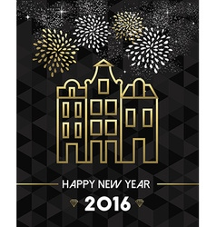 New Year 2016 amsterdam netherlands travel gold vector image vector image