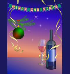 new year celebration wine vector image