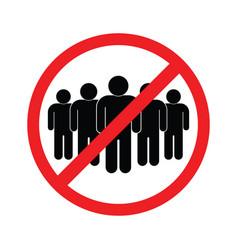 No crowd social distancing sign vector