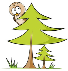 Owl sitting on tree - isolated on white back vector