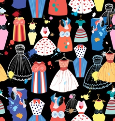 Pattern fashionable dresses vector