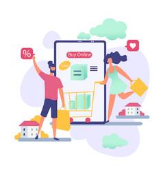 people in online sale cartoon vector image