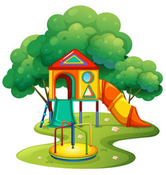 Playground with slide and roundabout vector